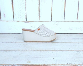 90s vintage off white/beige canvas open toe wedge platform sandals/high platform mules/boho festival clogs/9.5