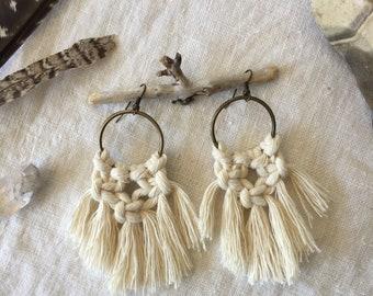 Macramé Earrings \/ Boho Hoops with Fringe \/