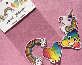 Einhorn POOP handgemachte Aufkleber Pack von 4, Regenbogen, Poop Emoji, Regenbogen Poop, Glanz-Herz