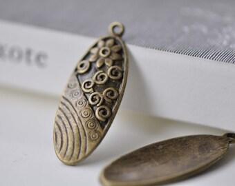 10 pcs Antique Bronze Oval Flower Charms Pendants 15x40mm A7811