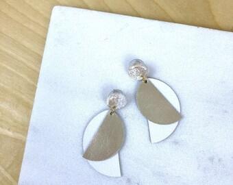 Geometric earrings, leather earrings, dangle earrings, statement earrings for women, polymer clay jewelry, white earrings, gift for her