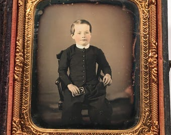 Tinted Daguerreotype of a Kid Holding a Book, 19th Century Antique Photograph in Full Case