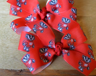 Set of Two  Wisconsin Badgers Hair Bows