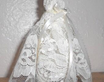 Handmade Faerie, Fae, Miniature Art Dress,Lace, Fairy Wedding Gown Dress,Fairy Garden, By Willow Bloome