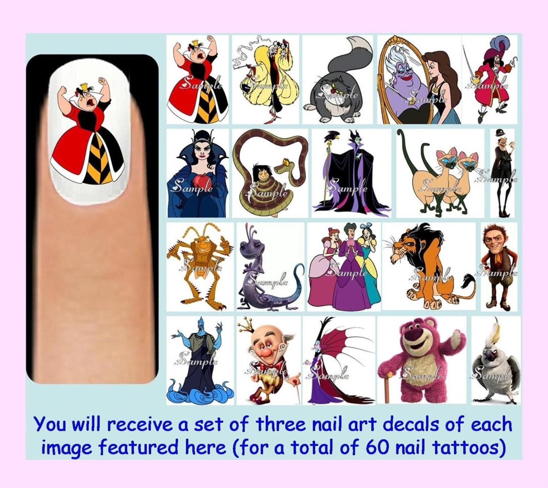 60 x DISNEY Bösewichte Nagelkunst Decals kostenlose