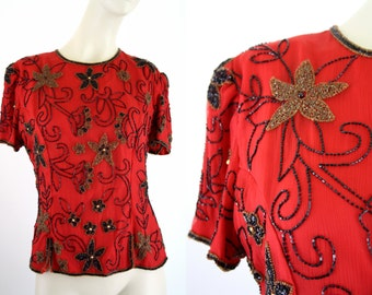 Scala Vintage Trophy Short Sleeve Woman's Vintage Sequin and Beaded Red Blouse