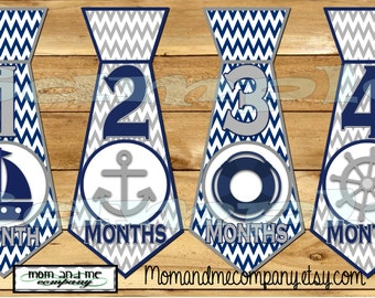 Tie Stickers Monthly Baby Sticker Baby Month Stickers Baby Milestone Sticker Nautical Baby Boy Baby shower gift Nautical ties sticker precut