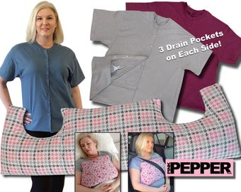 Breast Cancer Gift 3 Pack for after Surgery MASTECTOMY SHIRT and Post Op Chest PILLOW Underarm Support Breast Cancer (pD) New Low Price!