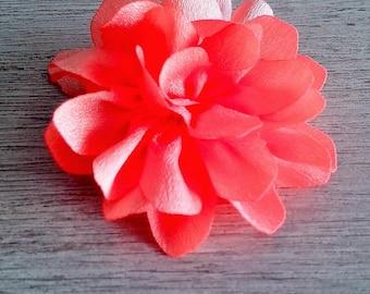 Coral flower organza fabric