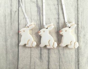 Pottery Easter rabbits, white bunnies, Easter tree decorations