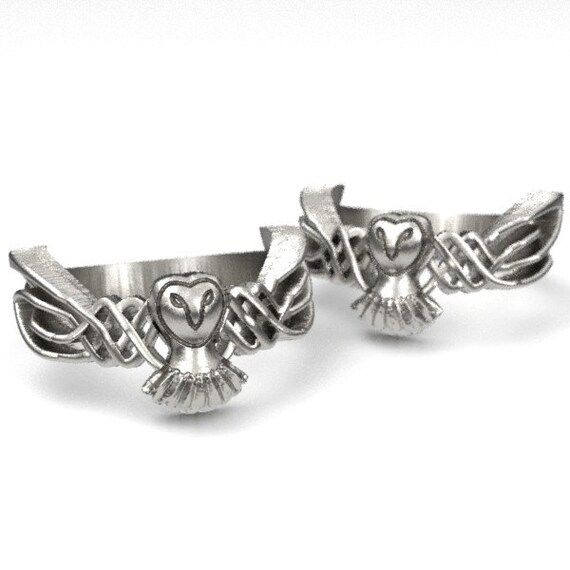 Celtic Owl Ring Set, 925 Sterling Silver Owl Ring, Barn Owl Jewelry, Celtic Ring, Owl Gifts for Women, Owl Wedding CR-1011