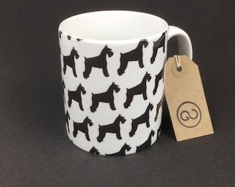 Beautiful, stylish and utterly unique 'SCHNAUZER' ceramic coffee mug. By The Good Continuation Design Company. Miniature Schnauzer Dog.