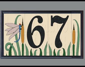 Dragonfly House Numbers Address Ceramic Tiles Framed Set