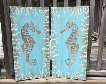 Seahorse Kissing 2 panel Canvas Wall Art Beach House Coastal Decor