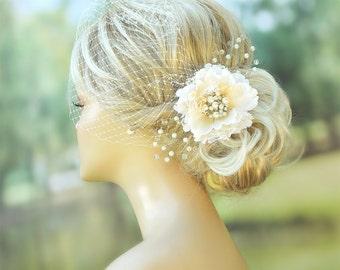 Bridal Birdcage Veil Wedding Hairstyles Bridal hair Wedding Fascinator Bridal Headpiece Hair flower clip Ivory fascinator Bridal Hairstyles