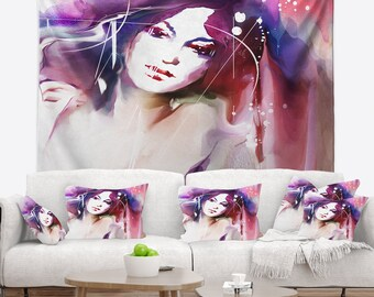 Designart Woman with Wreath Portrait Contemporary Wall Tapestry, Wall Art Fit for Wall Hanging, Dorm, Home Decor