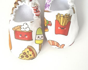 Junk Food  Baby Moccs / Baby Shoes / Baby Moccasins / Childrens Indoor Shoes / Vegan Moccs / Soft Sole Shoes / Vegan Moccasins / Organic