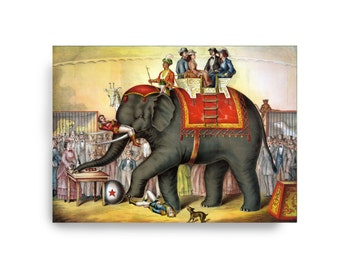 Elephant Circus Victorian Vintage Style Art Carnival Zoo Grey Red