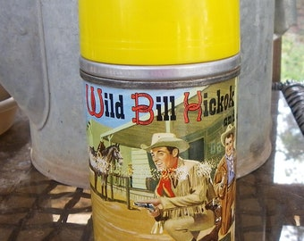 WILD BILL HICKOK Thermos, 1955, Vintage Western Lunchbox, Television Collectible
