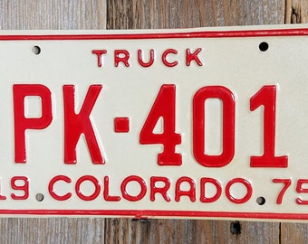 Old License Plate, Vintage Colorado 1975 License Plate, Vintage License Plate, License Plate, License Plates, CO License Plate Red and Ivory
