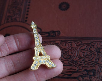 Vintage Eiffel Tower Rhinestone Pin, Francophile jeweled Brooch, Paris Landmark jewelry gift for her