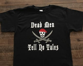 "Youth-Disney Pirate's of the Carribean Shirt ""Dead Men Tell No Tales"""