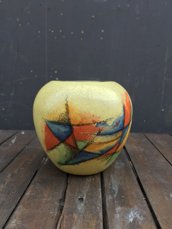 Vintage 1960's West German Pottery BAUHAUS Inspired Vase