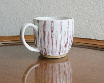Carved Red and White Ceramic Mug