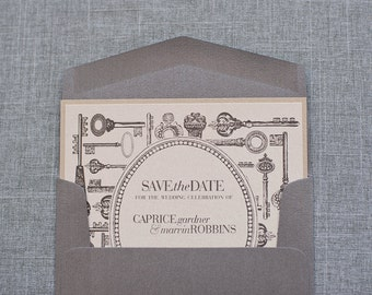 Champagne Gold and Silver Skeleton Key Wedding Save the Date  - Caprice and Marvin