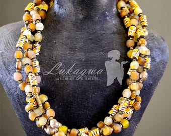 Beige Ethnic African necklace,Brown African beaded necklace,Brown African jewelry