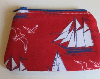 Coin purse in red boat print