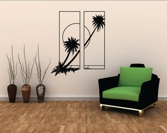 Leaning Coconut Trees Wall Decal - Lounge Decal - Home Decoration - Wall Decoration - Custom Wall Decals -LQ43