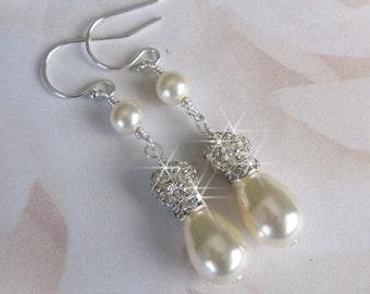 Bridal Pearl Rhinestone Earrings, Bride Teardrop Pearl Rhinestone Earrings, White, Ivory Pearls For the Bride Wedding Jewelry Bridal Jewelry