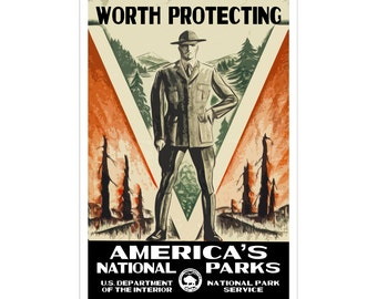 "America's National Park Poster - ""Worth Protecting"" - WPA style 13"" x 19"" Signed by the artist. Color. FREE SHIPPING!"