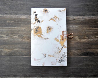 Travelers Notebook Insert with Cherry Blossoms  with Gold Accents- Midori Insert - TN Insert - Planning Insert  - Art Insert - Various Sizes