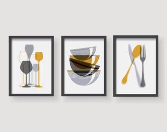 Mustard Yellow Kitchen Decor, Kitchen Wall Art, Kitchen Prints, Kitchen,  Set Of