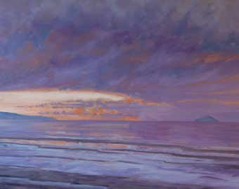 New Year's Day, Troon mounted print of an original oil painting by Tracy Butler