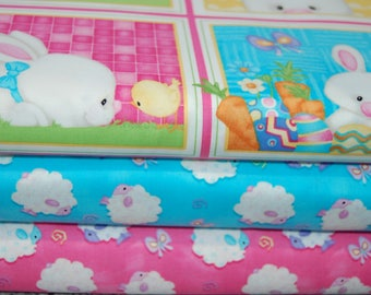 Henry Glass 'Hop to It!' Easter Bunny/Egg/Chick 100% Cotton Fabric - Panel/Fabric by the Fat Quarter