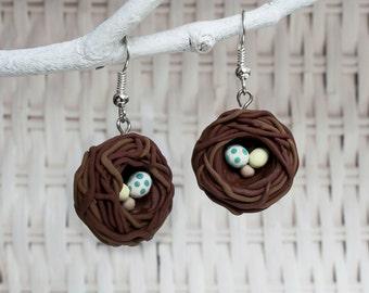 Bird Clay Earrings, Bird Polymer Earrings, Egg Clay Earrings, Birds Nest Earrings, Nest Clay Earrings, Clay Egg Earrings, Quirky Earrings