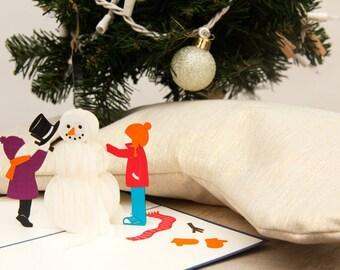 Snowman Pop Up Christmas Card, Snowman Pop Up Card, Snowman Holiday Card, Let it Snow, Build a Snowman, Snow Day, Winter Wonderland