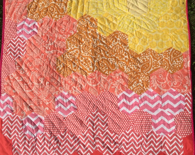 CLEARANCE - Handmade Modern Baby Girl Quilt - orange, pink, and yellow hexagons