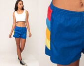 Vintage Swim Trunks 80s Bathing Suit Shorts Blue Striped Shorts Hipster Swimsuit Swim Shorts Retro Small