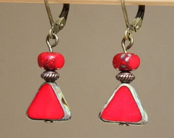 Red Earrings Czech Glass Earrings Dangle Earrings Jewelry Small Earrings Birthday Gift for Her Gift  for women Gift for wife