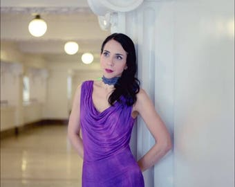 Bamboo cowl dress in purple. Handdyed great for beachwear, cruisewear, and perfect summer dress . From Simmer Clothing