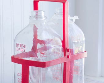 Vintage Glass Milk Bottles Jugs from Byrne  Dairy, 1960s 60s Milk Delivery Carrier, Pennsylvania Agriculture