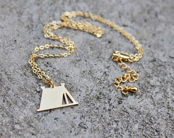 Camping Tent Necklace // Adventure Necklace //Exploring Charm // Outdoorsy // Wilderness  // Girlfriend, Friend Gift // Travel