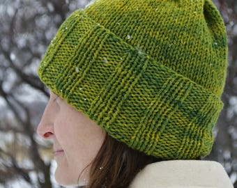Green Wool Knit Hat / Organic Wool Knit Hat / Wool Winter Hat / Knit Winter Hat