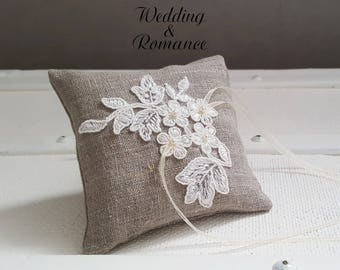 Wedding ring pillow {Love} linen and lace embellished with pearl beads, linen and ivory colors