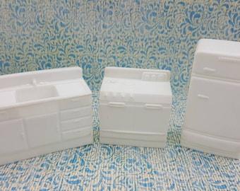 Eagle Toy Canada Kitchen  Pieces  Fridge Stove Sink Rare White