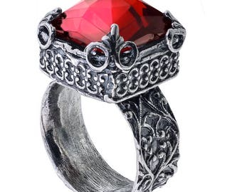 Sterling silver garnet ring, red garnet ring, January birthstone ring, garnet jewelry, mini pirouette, custom made, handmade